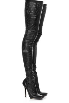Stella McCartney Perforated thigh-high boots