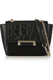 440 Mini croc-effect leather and suede shoulder bag