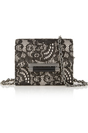 Diane von Furstenberg 440 Micro Mini leather, lace and crepe shoulder bag