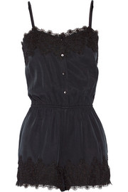 Finds + Stone Cold Fox Lansing lace-trimmed sandwashed-twill playsuit