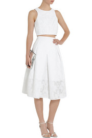 Tibi Cotton-blend jacquard A-line skirt