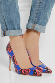 J.Crew Floral-print leather pumps