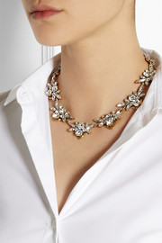 J.Crew Jewel Arrow gold-plated, crystal and cubic zirconia necklace