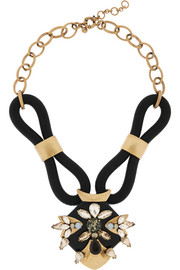 J.Crew Corded gold-tone crystal necklace