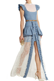 Alessandra Rich Chambray mini dress and lace maxi skirt set