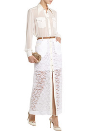 Alessandra Rich Georgette blouse and lace maxi skirt set