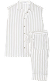 Baron striped washed-silk pajama set