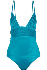 Beach Nervure metallic stretch-satin swimsuit