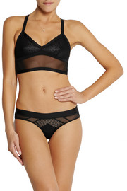 Black Fierce tulle and lace-paneled stretch-jersey briefs