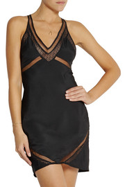 Black Fierce tulle and lace-paneled stretch-jersey chemise