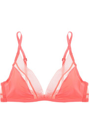 Icon mesh-trimmed stretch soft-cup bra