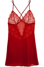 Valerie lace and silk-chiffon chemise