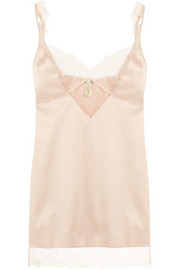 Bise lace-trimmed stretch-satin chemise