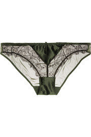 Delicatesse lace-trimmed stretch-silk satin and tulle briefs