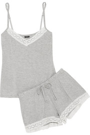 Petite Manon broderie anglaise-trimmed stretch-modal pajama set