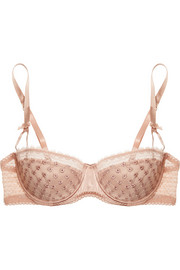Stella McCartney Ava Dancing embroidered tulle, stretch-silk and lace balconette bra