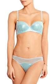 Cherie Sneezing crepe-paneled stretch-mesh briefs