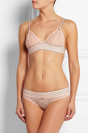 Mille Drawing lace and Swiss-dot tulle briefs