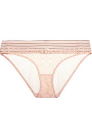 Stella McCartney Mille Drawing lace and Swiss-dot tulle briefs