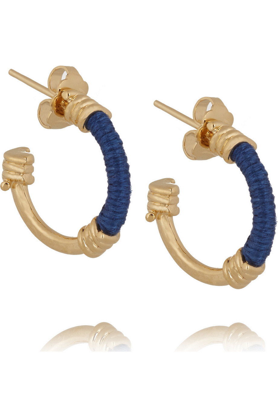 Mini Creoles Gold-Plated and Cotton Hoop Earrings, Aurélie Bidermann, Blue, Women's