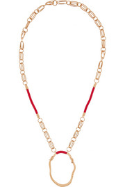 Gold-plated and cotton necklace