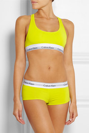 Modern stretch cotton-blend racer-back soft-cup bra