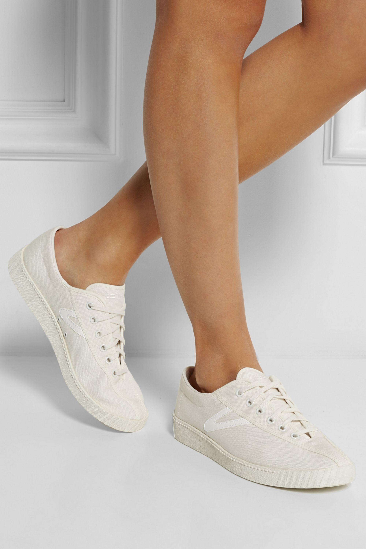 White Nylite canvas tennis sneakers