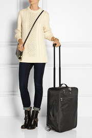Serapian Evolution textured leather-trimmed travel trolley