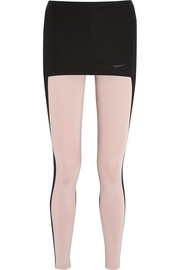 + Pedro Lourenço skirted mesh-paneled stretch-jersey leggings