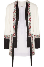 Talitha Embroidered fringed silk-twill jacket