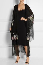 Talitha Myra embroidered silk-georgette kimono jacket