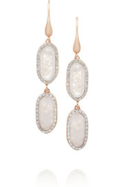 Monica Vinader Vega rose gold-plated, diamond and moonstone earrings