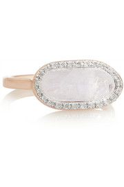 Vega rose gold-plated, moonstone and diamond ring