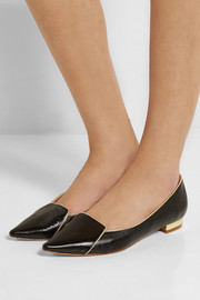 Lucy Choi London Lysander lizard-effect leather point-toe flats