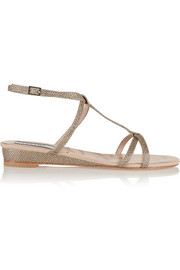 Lucy Choi London Bloomsbury glitter-finished leather wedge sandals
