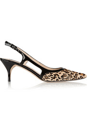 Lucy Choi London Quince leopard-print calf hair slingback pumps