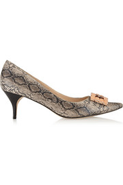Lucy Choi London Phebe embellished snake-effect leather pumps