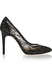 Prospero lace and leather pumps