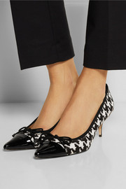 Lucy Choi London Tomora houndstooth calf hair and patent-leather pumps