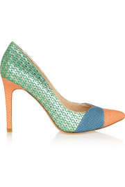 Cupid textured-leather and printed suede pumps