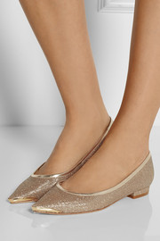 Lucy Choi London Helena glitter-finished leather point-toe flats