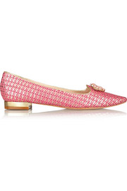 Lucy Choi London Juliette embellished woven leather point-toe flats