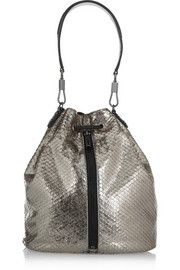 Elizabeth and James Cynnie Sling metallic snake-effect leather backpack