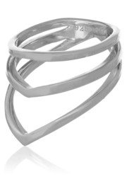 Chevron silver phalanx ring