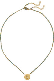 Carolina Bucci Baby Boy Lucky 18-karat gold, diamond and silk charm necklace