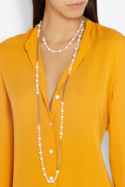 Carolina Bucci 18-karat gold, silk and pearl necklace