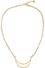 Carolina Bucci Smile 18-karat gold and silk necklace
