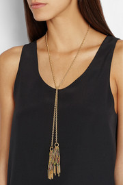 Carolina Bucci Rain Lucky 18-karat gold and silk necklace