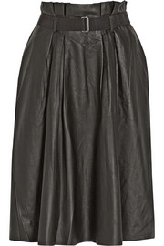 Lollu pleated leather skirt