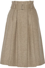 Lollila pleated wool-blend skirt